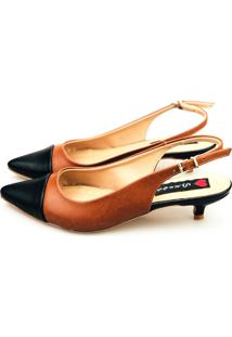 Scarpin Slingback Salto Baixo Love Shoes Captoe Marrom