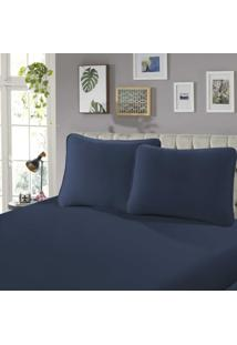 Lençol Com Elástico Solteiro Confort 1 Peça Marinho - Sbx Têxtil