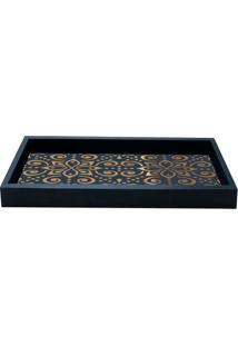 Bandeja Para Lavabo Floral- Preta & Dourada- 3X28X12Kapos