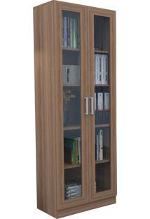 Armário Para Escritório Com Portas De Vidro Office Plus Appunto - Castanho