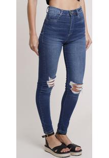 Calça Jeans Feminina Sawary Skinny Super Lipo Pull Up Cintura Alta Com Rasgos Azul Médio