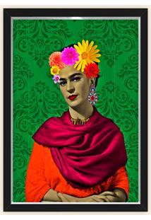 Quadro Caixa Decorativo 23X33Cm Nerderia E Lojaria Frida Flores Verde Preto