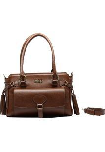 Bolsa De Couro Recuo Fashion Bag Baú Marrom