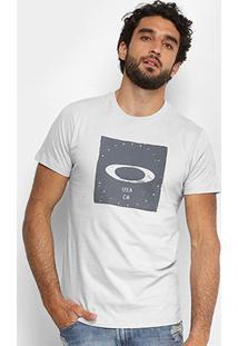 Camiseta Oakley Mod Bolded Elipse Masculina - Masculino-Cinza