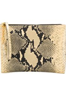 Marni Clutch Com Estampa De Cobra - Neutro
