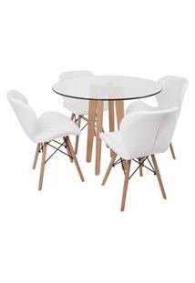 Conjunto Mesa De Jantar Em Vidro 90Cm Com Base Vértice + 4 Cadeiras Slim - Branco