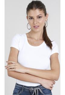 CEA. Blusa Decote Redondo Acinturada Com Manga Curta Feminina Branca  Algodão Elastano Asics Básica d2e6565e457f5