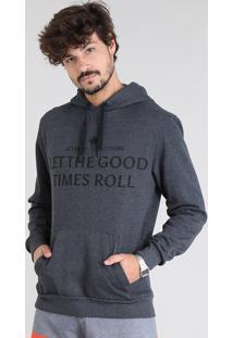 """Blusão Masculino Em Moletom """"Let The Good..."""" Com Capuz' Cinza Mescla Escuro"""