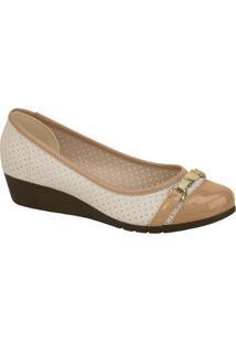 Sapato Conforto Moleca Anabela Bicolor Feminino - Feminino-Nude