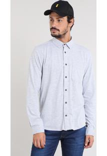 Camisa Masculina Listrada Com Bolso Manga Longa Cinza Mescla Claro