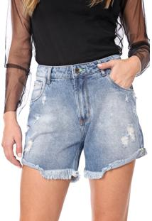 Bermuda Jeans My Favorite Thing(S) Reta Estonada Azul - Azul - Feminino - Algodã£O - Dafiti