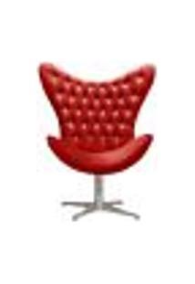 Poltrona Decorativa Egg Capitonê Com Strass Pé Giratório Alumínio - Suede Vermelho