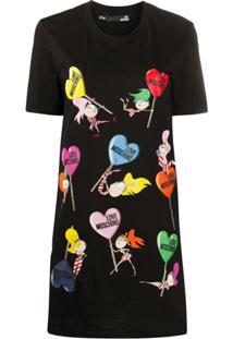 Love Moschino Vestido Reto Com Estampa Do Logo E Coração - Preto