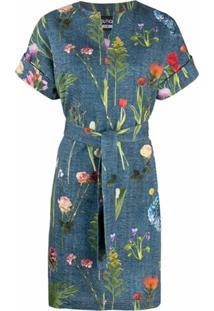 Boutique Moschino Vestido Com Cinto E Estampa Floral - Azul