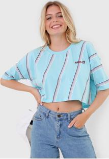 Camiseta Cropped Hang Loose Waves Azul/Rosa