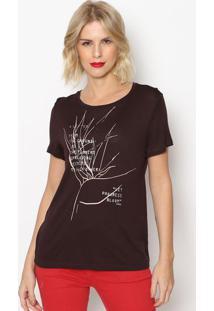 Camiseta ''A Letter''- Marrom Escuro & Rosa Claro- Fforum