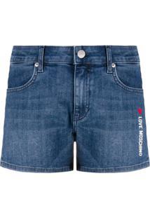 Love Moschino Short Jeans Com Estampa De Logo - Azul