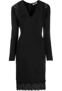 Twin-Set Lace Panel V-Neck Dress - Preto