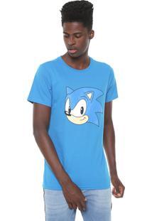 Camiseta Tectoy Sonic Hedgehog Classic Face Azul