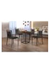 Conjunto De Mesa De Jantar Hera Com Tampo Mocaccino E 4 Cadeiras Grécia I Couríssimo Preto