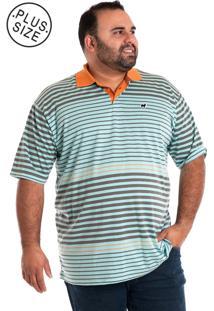Camisa Polo Plus Size Listrada 1185012 Verde Claro