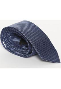 Gravata Listrada Em Seda - Azul - 8X148Cmcalvin Klein