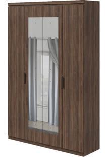 Guarda-Roupa Alonzo Plus Com Espelho - 100% Mdf - 4 Portas - Imbuia Naturale