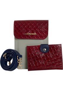 Bolsa Laura Prado Carteira Couro Marfim/Vermelho/Marinho - Kanui