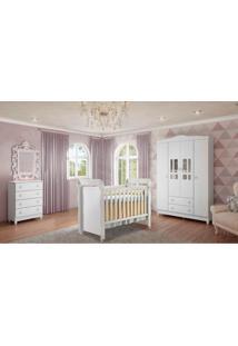 Dormitório Guarda Roupa Ariel 4 Portas/Cômoda 4 Gavetas E Berço Mirelle Branco Carolina Baby