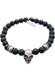 Pulseira Tuliska Pedra Onix Skull - Feminino-Preto+Prata