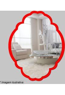 Espelho Retro- Espelhado & Vermelho- 27X22X5Cm- Cia Laser