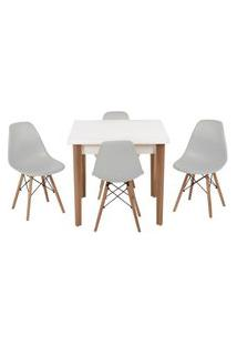 Conjunto Mesa De Jantar Luiza 80Cm Branca Com 4 Cadeiras Eames Eiffel - Cinza