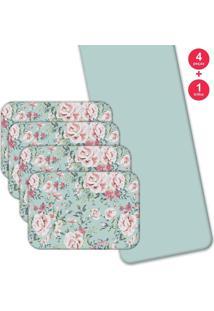 Jogo Americano Love Decor Com Caminho De Mesa Wevans Flowers Kit Com 4 Pçs + 1 Trilho - Kanui