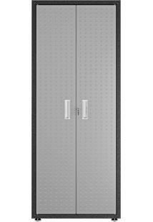 Armário Alto Multiuso Titanium 2 Porta Itatiaia Cor:Preto/Cinza Texturizado