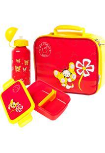Kit Escolar Kidsplash Lancheira, Garrafa Alumínio E Pote Bell Fly Vermelho