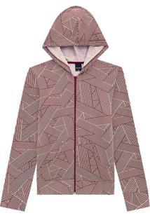 Jaqueta Estampada Com Capuz Malwee Rosa Claro - Pp
