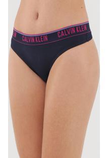 Calcinha Calvin Klein Underwear Fio Dental Logo Azul-Marinho