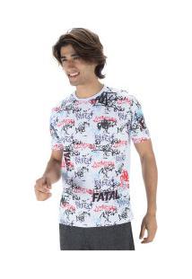 Camiseta Fatal Estampada 22165 - Masculina - Branco/Azul