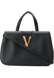 Versace Bolsa Tote Virtus - Preto