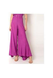 Calça Pantalona Elora Textura Feminina Roxo