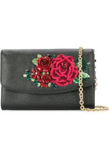 Dolce & Gabbana Clutch Com Bordado Floral - Preto