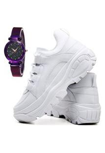 Tênis Sapatênis Casual Plataforma Fashion Com Relógio Luxury Feminino Dubuy 728El Branco