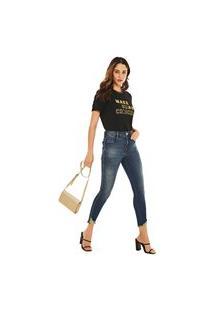 Calça Morena Rosa Slim Cropped Isadora Cós Alto Com Estampa Jeans