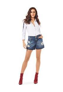 Bermuda Comfort Detalhe Pesponto Jeans