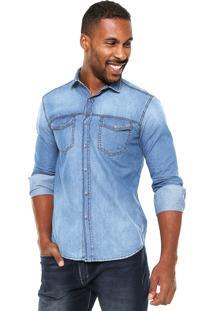 Camisa Jeans Malwee Slim Fit Azul