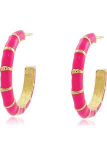 Brinco Viva Jolie Argola Colors Mã©Dia Rosa Pink Banho Em Ouro - Dourado/Pink - Feminino - Dafiti