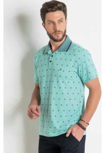 Camisa Polo Verde Com Estampa E Bordado