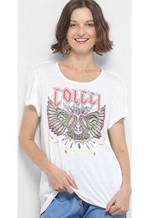 Camiseta Colcci Estampada Feminina - Feminino-Off White