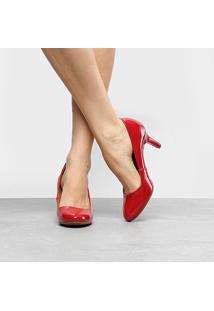 Scarpin Ala Salto Médio Fino - Feminino-Vermelho