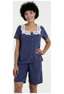 Pijama Feminino Short Doll Estampa Bolinhas Manga Curta Marisa